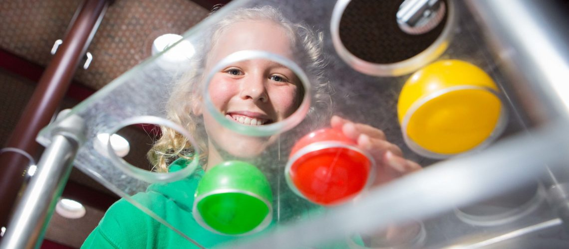 """DKANE 17/09/2015 REPRO FREE Amelia McGrath Martin, Scoil Mhuire Gan Smal  at the Sense About Maths (SAM) Curiosity Den at Cork Institute of Technology.  Running at CIT's Nexus Hall, SAM's Curiosity Den is a showcase of """"cool maths and science workshop demonstrations"""" for 4th, 5th and 6th class pupils. Pic Darragh Kane."""